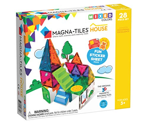 Magna Tiles House Set, The Original, Award-Winning Magnetic Building, Creativity & Educational, Stem Approved, Solid & Clear Colors, Model Number: 18332