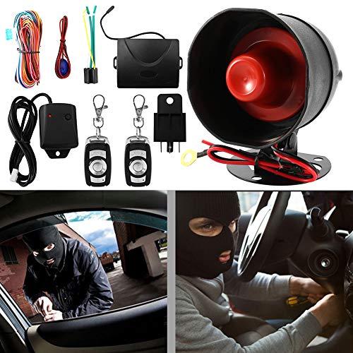 Qii lu Auto Alarmanlage, 12 V Universal Auto Anti-Diebstahl Alarmanlage Hupe und Licht Stoßsensor Alarm Safe Lock mit Fernbedienung Schlüssel Build Protection
