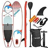 Nemaxx Stand Up Paddle Gonflable 305x76x10 cm, Rouge/Bleu - Sup, Planche de Surf Gonflable et Facile à Transporter - Sac de Voyage, pagaie, aileron, Pompe à air, kit de réparation, Laisse