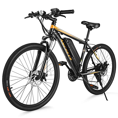 ANCHEER Electric Bike Electric Mountain Bike 350W Ebike 26'' Electric Bicycle, 20MPH Adults Ebike with Removable 10.4Ah Battery, Professional 21 Speed Gears