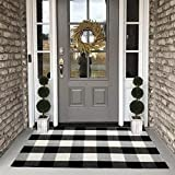 Buffalo Plaid Check Rug - 27.5''x43'' Cotton Hand-Woven Indoor/Outdoor Area Rugs for Layered Door Mats Washable Carpet for Porch/Kitchen/Farmhouse Black/White