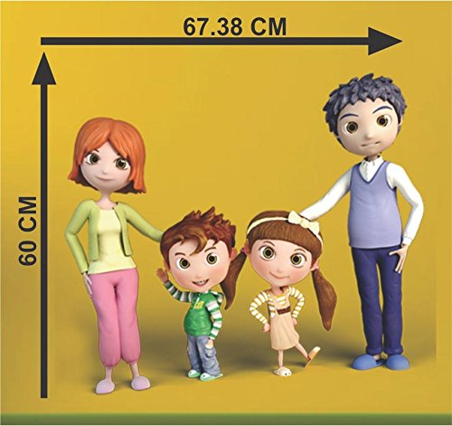 Mom Dad &Baby Happy Family Cartoon Decorative Pvc Vinyl Removable Decor Wall Decal Beautiful Sticker For Home Dedcoration living room(pvc vinyl SelF Adhesive ) Wall Sticker Home Decor Cartoon Wall Sticker Decorative Stickers Wallpaper For Kids Home living room bedroom kitchen Office By MADHUBAN DÉCOR