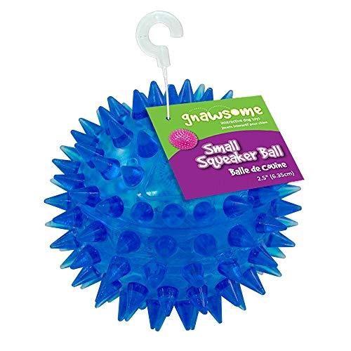 """Gnawsome 2.5"""" Spiky Squeaker Ball Dog Toy - Small, Cleans teeth and Promotes Dental and Gum Health for Your Pet, Colors will vary"""
