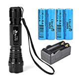 UltraFire 18650 Flashlight with 4PCS UFB22 3.7v 18650 2200mAh Rechargeable Battery and Charger, Single Mode Mini Flashlights 500 Lumens