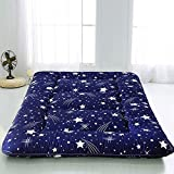 Navy Starry Sky Japanese Floor Futon Mattress, Tatami Floor Mat Portable Camping Mattress Kids Sleeping Pad Foldable Roll Up Floor Lounger Couch Bed Full Size with Mattress Protector Cover