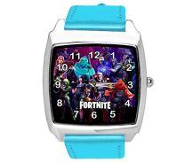 Taport - Reloj cuadrado de piel azul para los fans de Fortlite