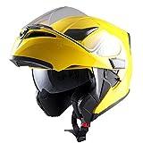 1Storm Motorcycle Modular Full Face Helmet Flip up Dual Visor Sun Shield: HB89 Glossy Yellow, Size L (57-58 cm,22.4/22.8 Inch)