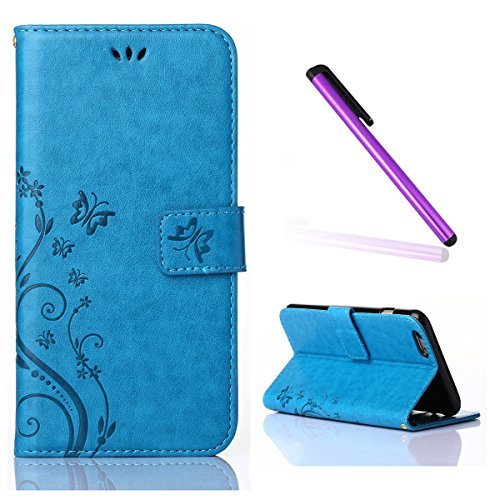 iPhone 4 Case,iPhone 4S Case,EMAXELER Stylish Wallet Case [Kickstand Flip Case][Credit Cards Slot][Cash Pockets] Cool PU Leather Flip Wallet Case with Stand For iPhone 4/4S--Blue