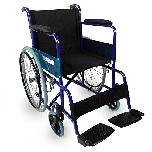 Mobiclinic, modelo Alcázar, Silla de ruedas ortopédica, plegable, para minusválidos, manual, freno en manetas, reposabrazos fijos y reposapiés abatibles, color Azul/Negro, asiento 46 cm