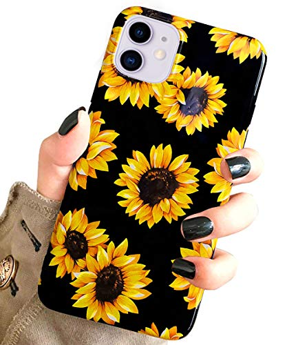 J.west Case for New iPhone 11 Vintage Floral Cute Yellow Sunflowers Black Soft Cover for Girls/Women Flexible TPU Silicone Slim fit Fashion Design Pattern Drop Protective Case for iPhone 11 6.1 inch
