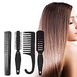 Peigne cylindrique peigne à dents larges antistatique brosse à cheveux pour cheveux à usage domestique pour coiffeur pour cheveux longs(4-piece set)