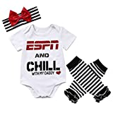 Baby Girls ESPN and Chill with My Daddy Bodysuit and Socks Outfit with Headband,0 - 6 Months,Black/white/red