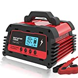 ATian Smart Battery Charger 12V/20A 24V/10A Automatic Battery Maintainer Auto-Volt Detection, LDC Display Tester compatibal Car Motorcycle Lawn Mower AGM Gel Deep Cycle Lead Acid Batteries (Red)