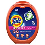 Tide PODS Laundry Detergent Liquid Pacs, Fresh Coral Blast Scent, HE Compatible, 96 Count (Packaging May Vary)