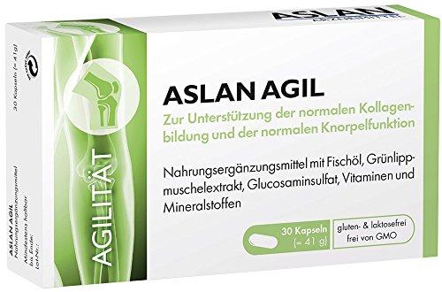 Aslan Agil, 30 Kapseln, Nahrungsergänzungsmittel mit Omega-3-Fettsäuren, DHA und EPA, Vitamin C, Knorpelfunktion, Kollagenbildung, Blutgefäße, Herzfunktion