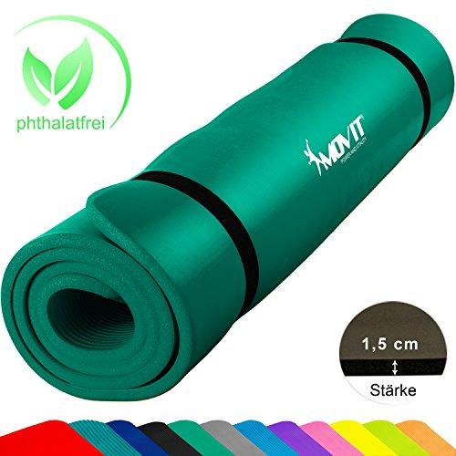 Movit XXL Pilates Gymnastikmatte, Yogamatte, phthalatfrei, SGS geprüft, 190 x 60 x 1,5cm, Grün