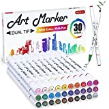 30 Colors Dual Tip Art Markers,Shuttle Art Marker Pens Perfect for Kids Adult Coloring Books Sketching and Card Making
