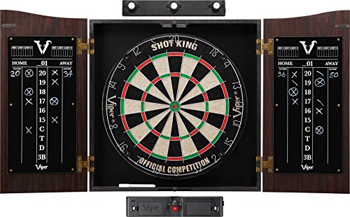Viper Vault Cabinet & Shot King Sisal/Bristle Dartboard Ready-to-Play Bundle: Elite Set (Shot King Dartboard, Darts, Shadow Buster and Laser Throw Line)