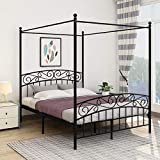 JURMERRY Metal Canopy Bed Frame with Ornate European Style Headboard & Footboard Sturdy Steel Easy DIY Assembly ,Queen Black