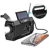 SEEKONE Emergency Solar Hand Crank Portable Radio, NOAA Weather Radio with AM/FM, SOS Alarm, Flashlight, Reading Lamp, USB Charger and 2000mAh Power Bank(Black)