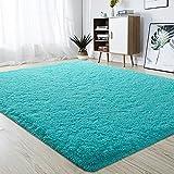 junovo Ultra Soft Area Rugs Fluffy Carpets for Bedroom Kids Girls Boys Baby Living Room Shaggy Floor Nursery Rug Home Decor Mats, 6 x 9ft Turquoise Blue
