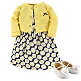Hudson Baby Girls' Cotton Dress, Cardigan and Shoe Set, Daisy, 12-18 Months