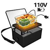 Portable Oven, 110V Portable Food Warmer Personal Portable Oven Mini Electric Heated Lunch Box for Reheating & Raw Food Cooking in Office, Travel, Potlucks and Home Kitchen