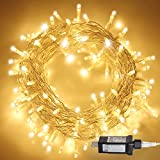 Aluan Christmas Lights Extendable Fairy String Lights 100 LED 33ft+10ft 8 Modes Waterproof Plug in Icicle Lights for Party Wedding Christmas Tree, Window Curtain Patio Decoration