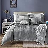 Living Quarters 7 Piece Nara Oversized Luxury Bed in Bag Microfiber Comforter Set (Queen), Silver