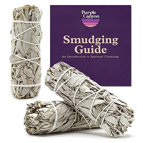 PURPLE CANYON White Sage Bundles - (3 Pack) - Sage Smudge...