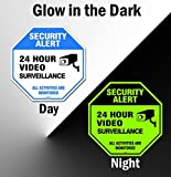 Video Surveillance Sign Outdoor | No Trespassing Glow-in-The-Dark Large Warning Sign | 12'x12' Aluminum | Indoor Outdoor | Home Business CCTV Security Camera | Waterproof UV Protected | Blue