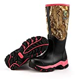 TideWe Hunting Boot for Women, Insulated Waterproof Durable 15' Women's Hunting Boot, 6mm Neoprene and Rubber Outdoor Boot Realtree Edge Camo(Pink Size 8)