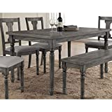 Best Master Furniture Grey Wood and Veneer Distressed Dining Table