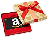 Amazon.com $50 Gift Card in a Gold Hearts Box