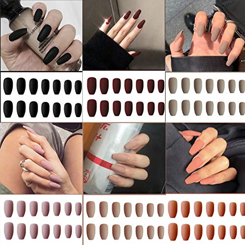6 Packs (144 Pcs) Matte Coffin Press on Nails Medium Length, Acrylic Short False Nails Set Artificial Nails Fake Solid Color with Adhesive Tabs Nail File for Women