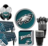 Party City Philadelphia Eagles Super Party Supplies for 36 Guests, Include Plates, Napkins, Table Covers, and Balloons