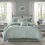 Madison Park Mindy Queen Size Bed Comforter Set Bed in A Bag - Aqua, Floral – 9 Pieces Bedding Sets – 100% Cotton Bedroom Comforters