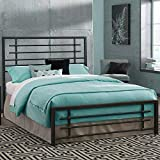 eLuxurySupply Metal Bed Frame - Carbon Steel with Rustic Pewter Finish Folding Bed Frame - Easy Assembly with Headboard and Footboard - Sturdy Steel Construction Bed Base - Queen Size