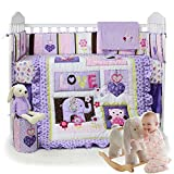Brandream Purple Elephant Baby Girl Nursery Crib Bedding Set 3 Piece with Owl Floral Patchwork
