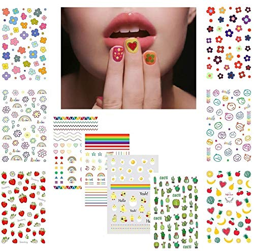 Fanoshon Cute Nail Decals Stickers for Women Girls Kids 200+ PCS, Self Adhesive Nail Tip Manicure Peduicure for Fingernails Toenails Fake Nails, Birthday Party Favors Christmas Stocking Stuffer