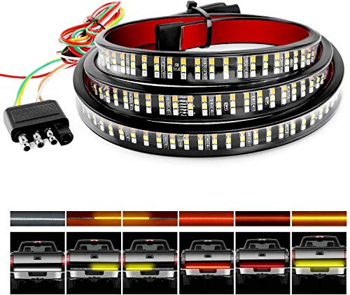 "HOCOLO 60"" Triple 504 LED Tailgate Strip Light Waterproof w/ 4Way Flat Connector Wire-Solid Amber Turn Signal Red Brake Running White Reverse Bulb For Jeep GMC Ford Dodge Ram Pickup Truck RV SUV"