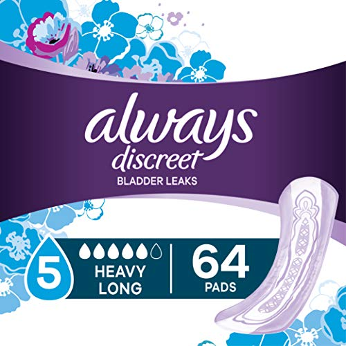 Always Discreet Incontinence Pads for Women, Heavy Absorbency, Long Length, 64 Count