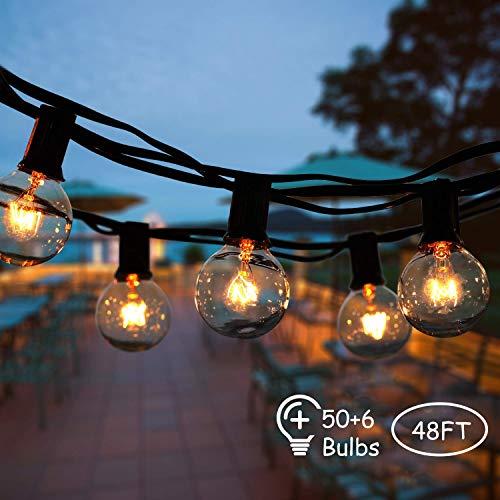 Lichterkette Außen,VIFLYKOO Lichterkette Glühbirnen Aussen G40 Beleuchtung 50 Birnen mit 6 Ersatzbirnen IP44 Wasserdicht Lichterkette für Garten,Terrasse,Bäume,Hof, Haus Party Deko - Warmes Weiß