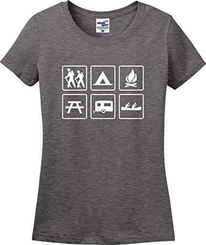 Utopia Sport Camp Signs Camping Ladies T-Shirt (S-4X) (Ladies Small, Graphite Heather)