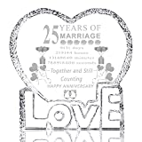 25 Years 25th Wedding Anniversary Gifts for Her,Laser Crystal Heart Marriage Keepsake Decoration for Couples Friends Parents Him Husband Wife