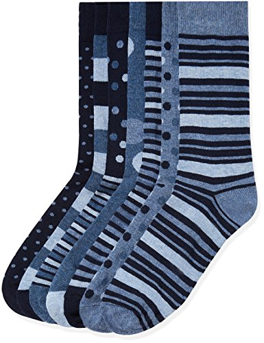 Marchio Amazon - find. 7 Pack Ankle Sock, Calze Uomo, Blu Strisce (Blue Mix), 44-47 EU, Label: 10-12...