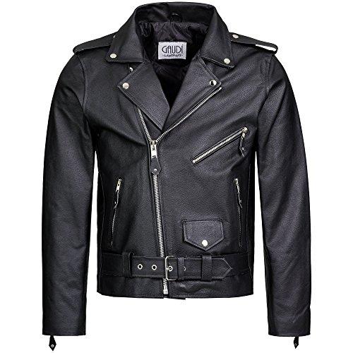 Gaudi-Leathers Chaqueta de Cuero para Hombre Moto o Motocicleta Biker Moto Brando Style 3XL