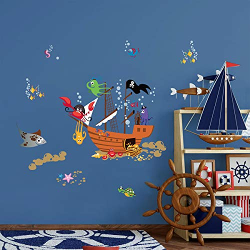ufengke Pirate Ship Animal Wall Stickers Crab Octopus Bubbles Wall Decals Art Decor for Kids Boys Bedroom Nursery Playroom