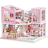 GFDFD Casa de muñecas de Juguete de Madera Casa de muñecas en Miniatura con Muebles Casa de Madera Juguetes para niños Modelo de Juguete de construcción (Color : A)