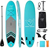 WAVEY BOARD Inflatable Stand Up Paddle Board 6' Thick SUP Board PVC with Adjustable Paddle Backpack Pump and Bottom Fin for All Skill Levels Youth & Adult Surfboard